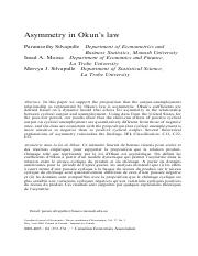 Silvapulle et al. (2004) - Asymmetry in Okun's law
