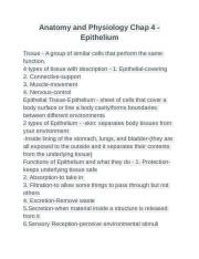 Anatomy and Physiology Chap 4 - Epithelium