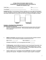 Clove Extraction Worksheet