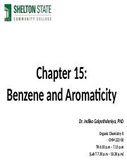 Chapter 15- Benzene and Aromaticity