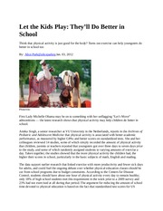 5.1 Let the Kids Play - Cognition Article #5.1