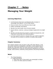 Chapter 7 - Managing your weight - Notes