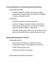 Tourism Marketing in the Experiential Economy Notes