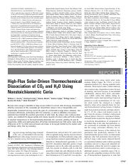 High-Flux Solar-Driven Thermochemical Dissociation of CO2 and H2O Using Nonstoichiometric Ceria Chue