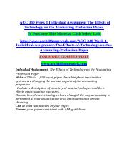ACC 340 Week 1 Individual Assignment The Effects of Technology on the Accounting Profession Paper.do