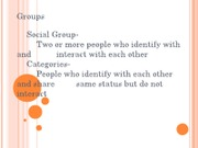 Groups and organizations