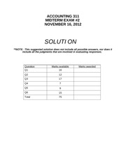 ACCT311 Accounting midterm 2 with solutions 2012