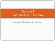 4607 Week  2 - Introduction to the Law