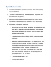 Segment Customers Notes