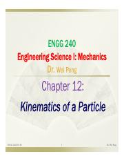 Chapter 12 Kinematics of a Particle