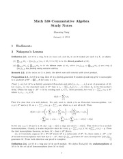 Study Notes CommAlgebra