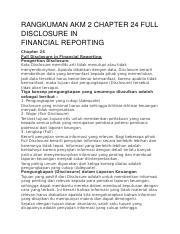 Rangkuman Akm 2 Chapter 24 Full Disclosure In Financial Disclosurein Financialreporting Chapter 24 Full Disclosure In Financial Reporting Course Hero