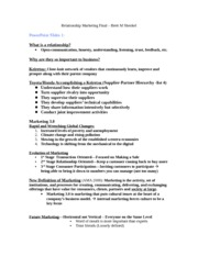 RELATIONSHIP MARKETING FINAL STUDY GUIDE