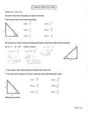 Section 7.1 Right Triangle Trig Notes