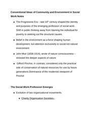 Conventional Ideas of Community and Environment in Social Work Notes