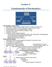 Lecture 4 - Fundamentals of Biochemistry