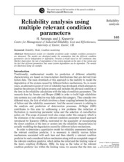 Reliability analysis using multiple relevant condition parameters