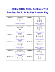 Problem Set 8 Key CHEM103A Dr. Keller