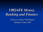 Week 1. Introduction to financial markets, institutions and money