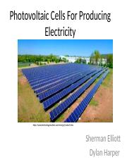 Photovoltaic Cells For Producing Electricity