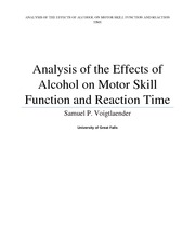 Analysis of the effects of alcohol on motor skill function and Reaction time