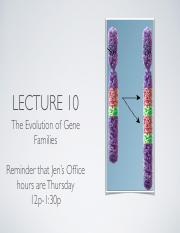 Lecture 10 Evolution of Gene Families Slides
