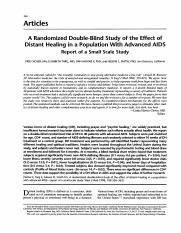A Randomized Double-Blind Study of the Effect of Distant Healing in a Population With Advanced AID.p