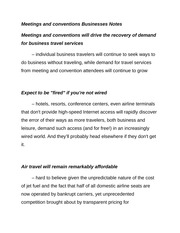 Meetings and conventions Businesses Notes