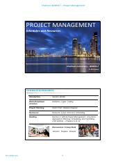PROJECT MANAGEMENT Schedules and Resources