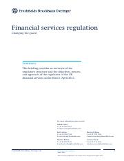 Financial services regulation - changing the guard