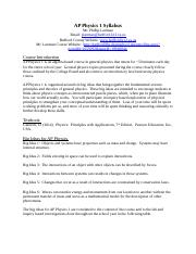 AP Physics 1 Syllabus and Class Rules Lanman