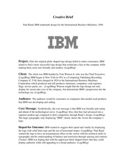Creative Brief Paul Rand, IBM trademark design for the International Business Machines, 1956