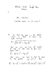 Math 1ZA3 Sample Exam Solutions