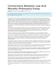 Connections Between Law And Morality Philosophy Essay
