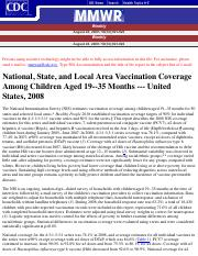 National, State, and Local Area Vaccination Coverage Among Children Aged 19--35 Months -2004-2008.pd