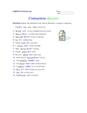 Contractions - answers