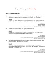 Chapter 22 Agency Law Answer Key