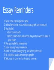 7th grade: Essay Reminders