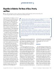 Disparities in diabetes - nexus of race, poverty and place