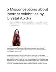 1 Week 7 Abidin SHORT 5 Misconceptions about internet celebrities by Crystal Abidin.docx