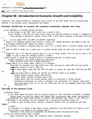 MACROECON Chapter 08 - Introduction to Economic Growth and Instability
