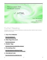 014 HTML Further Reading