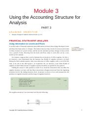 Module 3 -Using the Accounting Structure for Analysis- Part 3
