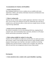 Notes on Accommodating Students with Disabilities