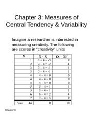 Chapter 3 - Measures of Central Tendency & Variability
