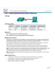 5.1.2.8 Lab - Viewing Network Device MAC Addresses.docx