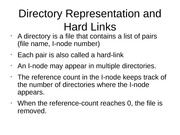 Directory Representation and Hard Links
