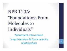 NPB110A Lecture 27 Length-tension & Force velocity relationships final