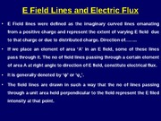 Electric Field Lines and Electric Flux & Gauss's Law