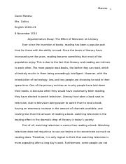 "Argumentative Essay ""The Effect of Television on Literacy"""